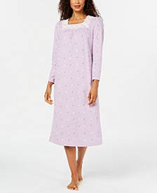 Women's Petite Printed Fleece Nightgown, Created for Macy's