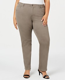 Style & Co Plus Size Tummy-Control Straight-Leg Jeans, Created for Macy's