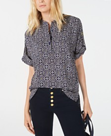 Michael Michael Kors Printed High-Low Top, Regular & Petite Sizes