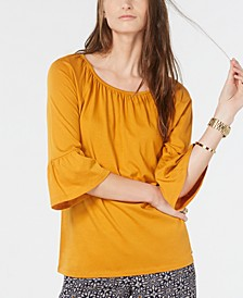Gathered-Neck Bell-Sleeve Top