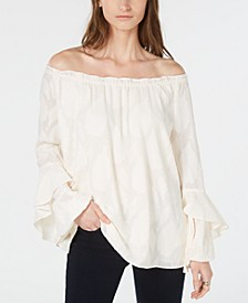 Off-The-Shoulder Ruffled-Cuff Top