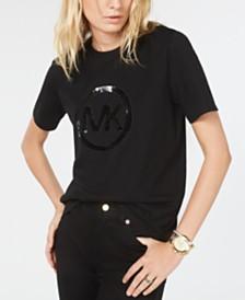 Michael Michael Kors Cotton Sequined Logo T-Shirt