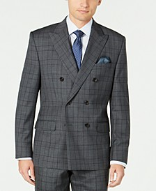 Men's Classic-Fit UltraFlex Stretch Gray/Purple Check Double Breasted Suit Separate Jacket