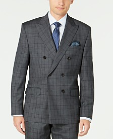 Lauren Ralph Lauren Men's Classic-Fit UltraFlex Stretch Gray/Purple Check Double Breasted Suit Separate Jacket