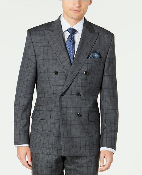 Lauren Ralph Lauren Men's Classic-Fit UltraFlex Stretch Gray/Purple Check Double Breasted Suit Separate Jacket