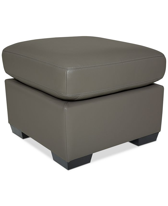 "Furniture - Lothan 24"" Leather Ottoman"
