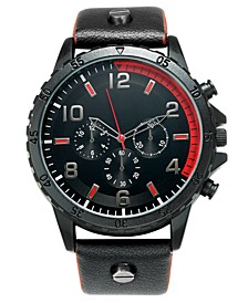INC Men's Black Leather Strap Watch 50mm, Created For Macy's
