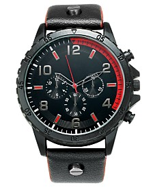I.N.C. Men's Black Leather Strap Watch 50mm, Created For Macy's