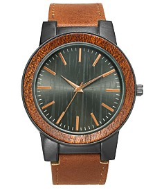 I.N.C. Men's Brown Faux-Leather Strap Watch 48mm, Created for Macy's
