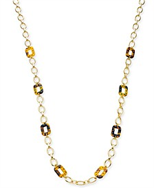 "INC Gold-Tone Multi-Tortoise Link Necklace, 28"" + 3"" Extender, Created for Macy's"