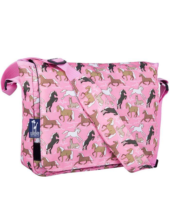 Wildkin - Horses in Pink 13 Inch x 10 Inch Messenger Bag