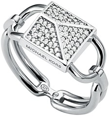Sterling Silver Mercer Pave Padlock Ring