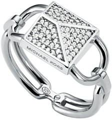 Michael Kors Sterling Silver Mercer Pave Padlock Ring