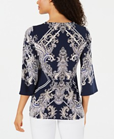 JM Collection Stud-Trim Printed Top, Created for Macy's