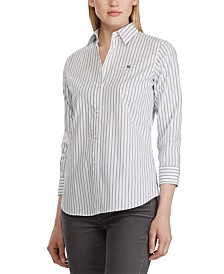 Lauren Ralph Lauren Stripe-Print Wrinkle-Resistant Button-Down Shirt