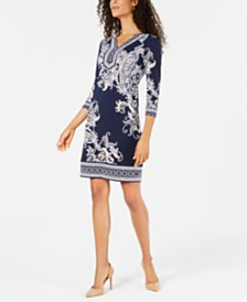 JM Collection Petite Printed Studded Dress, Created for Macy's