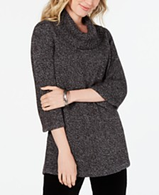 Karen Scott Petite Cowl-Neck 3/4-Sleeve Sweater, Created for Macy's