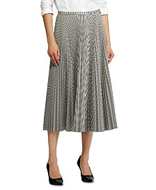 Lauren Ralph Lauren Check-Print Pleated Midi Skirt