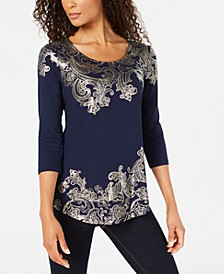 Petite Foil-Print Top, Created for Macy's