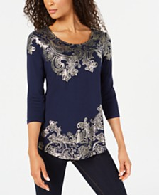 JM Collection Petite Foil-Print Top, Created for Macy's