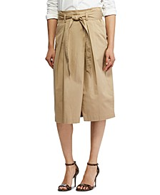 Belted Wrap-Front Twill Skirt