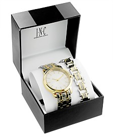 I.N.C. Men's Two-Tone Bracelet Watch 42mm & Matching Bracelet Set, Created for Macy's