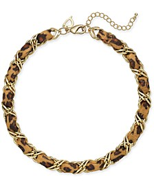 """Gold-Tone & Cheetah-Print Woven Necklace, 19"""" + 3"""" Extender, Created for Macy's"""