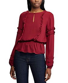 Ruffle-Trim Georgette Top