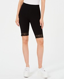 GUESS Lace-Trim Biker Shorts
