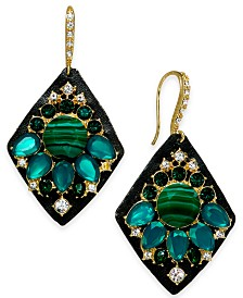 I.N.C. Gold-Tone Crystal & Stone Cluster Drop Earrings, Created for Macy's