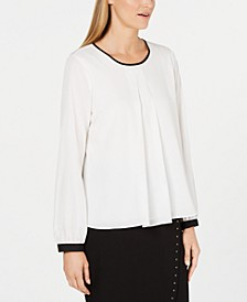 Contrast-Trim Pleated Top