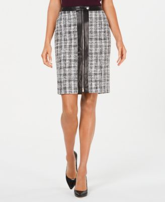 Tweed Zip-Front Pencil Skirt With Faux-Leather Trim