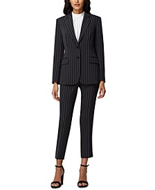 Petite Chalk-Stripe Two-Button Blazer