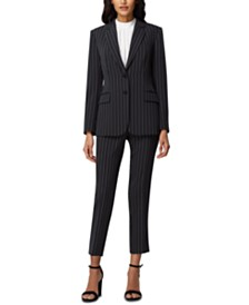 Tahari ASL Petite Chalk-Stripe Two-Button Blazer