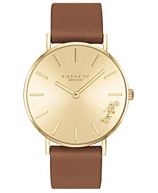 COACH Women's Perry Saddle Leather Strap Watch 36mm