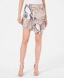 Juniors' Snakeskin-Print Ruffle Skirt