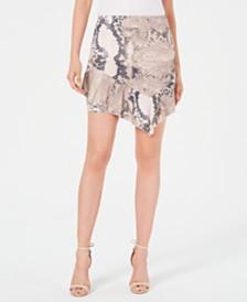 GUESS Juniors' Snakeskin-Print Ruffle Skirt