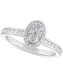 Diamond Cluster Engagement Ring (1/2 ct. t.w.) in 14k White Gold
