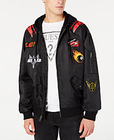 GUESS Men's Hooded Patch Jacket