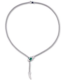 Cubic Zirconia Snake Pendant Necklace in Sterling Silver