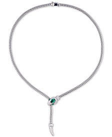 Tiara Cubic Zirconia Snake Pendant Necklace in Sterling Silver