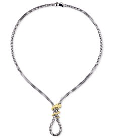 """Snake Wrap 18"""" Frontal Necklace in Two-Tone Sterling Silver"""
