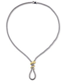 """Tiara Snake Wrap 18"""" Frontal Necklace in Two-Tone Sterling Silver"""
