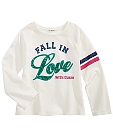 Big Girls Cotton Fall In Love Embellished Sweatshirt