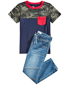 Little Boys Camo Colorblocked Pocket T-Shirt & Stretch Drawstring Moto Jeans, Created for Macy's