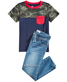 Epic Threads Little Boys Camo Colorblocked Pocket T-Shirt & Stretch Drawstring Moto Jeans, Created for Macy's