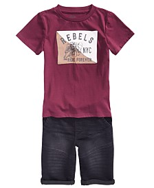 Epic Threads Little Boys Rebels T-Shirt & Stretch Denim Drawstring Moto Shorts, Created for Macy's