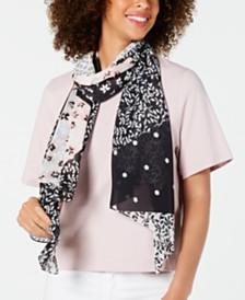 Calvin Klein Floral Patchwork Chiffon Scarf