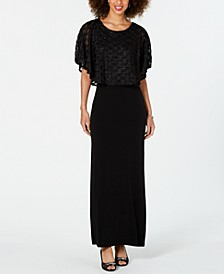 Jacquard Cape Maxi Dress