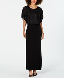 Connected Jacquard Cape Maxi Dress